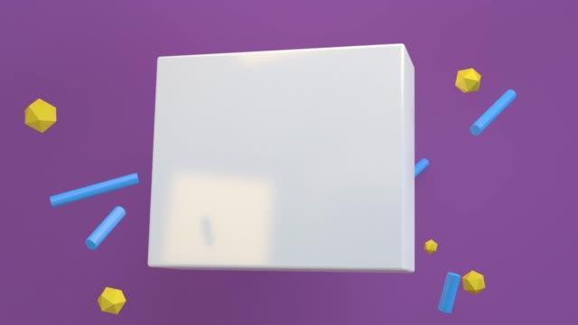 tom vit ruta flytande i rörelse 3d-rendering för bakgrund. koncept: abstrakt bakgrund , rörelsegrafik , party. - tvådimensionell form bildbanksvideor och videomaterial från bakom kulisserna