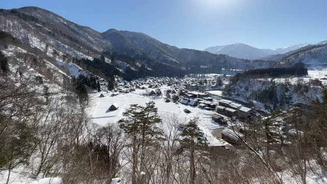 blanket of snow covers traditional buildings on january 21 in shirakawago, japan. the unesco world heritage-listed village is hugely popular with... - other stock videos & royalty-free footage