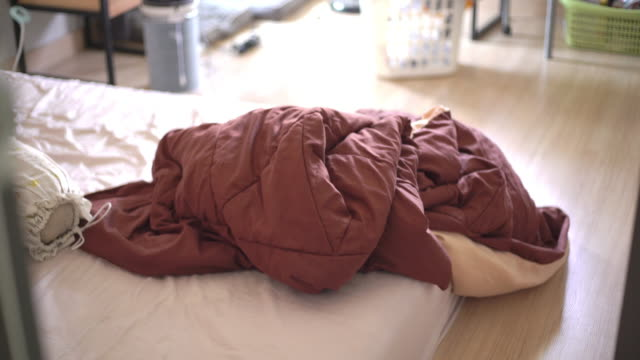 blanket on the bed at bedroom in the morning - blanket stock videos & royalty-free footage