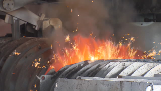 blast furnace with sparks - blast furnace stock videos & royalty-free footage