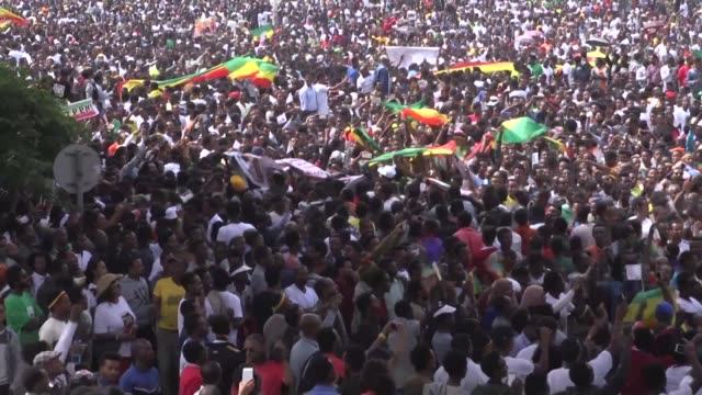 blast hits a rally in ethiopia's capital in support of new prime minister abiy ahmed dozens reported injured - prime minister video stock e b–roll