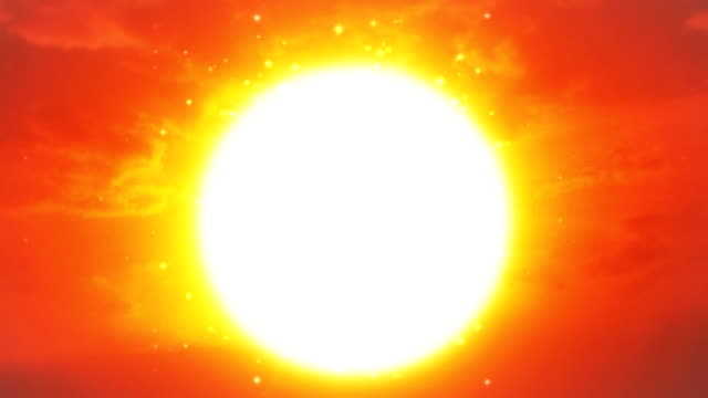 Blazing particles radiate from a brilliant sun.