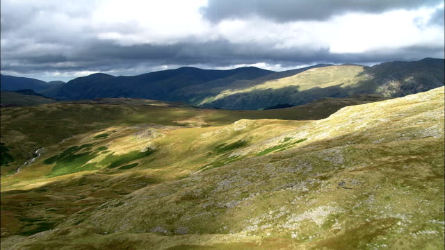 blea tarn and south end of thirlmere  - aerial view - england, cumbria, allerdale district, united kingdom - english lake district stock videos and b-roll footage