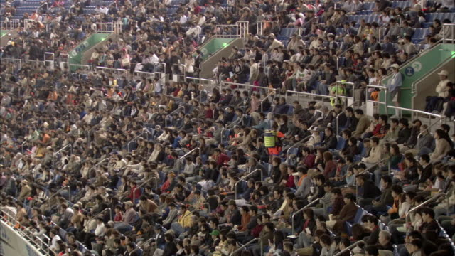 WS HA Bleachers at baseball stadium full of fans during game / Tokyo, Tokyo Prefecture, Japan