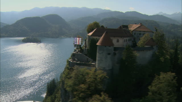 aerial bled castle and lake bled / slovenia - slovenia stock videos & royalty-free footage