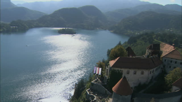 aerial bled castle and lake bled / slovenia - lake bled stock videos & royalty-free footage