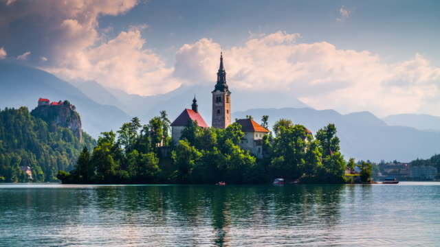 bled lake, slovenia, europe - lake bled stock videos & royalty-free footage