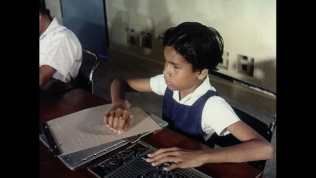 montage blind children learning in the classroom in malaysia - braille stock videos & royalty-free footage