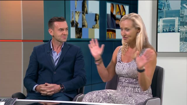 Blind Date couple meet by chance on London tube 25 years on London GIR INT Howard Griffiths and Brigette Bard STUDIO interview SOT