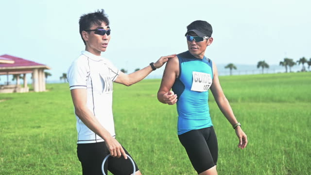 blind triathlete taking a break - visual impairment stock videos & royalty-free footage