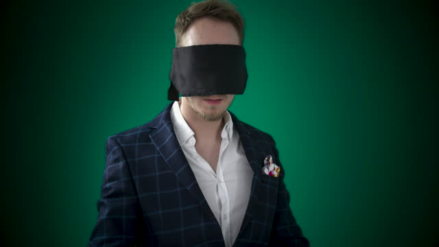 blindfolded man - handsome people stock videos & royalty-free footage