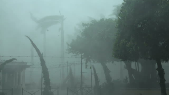blinding white out in the violent eye wall of hurricane irma as it makes landfall in naples florida - hurrikan stock-videos und b-roll-filmmaterial
