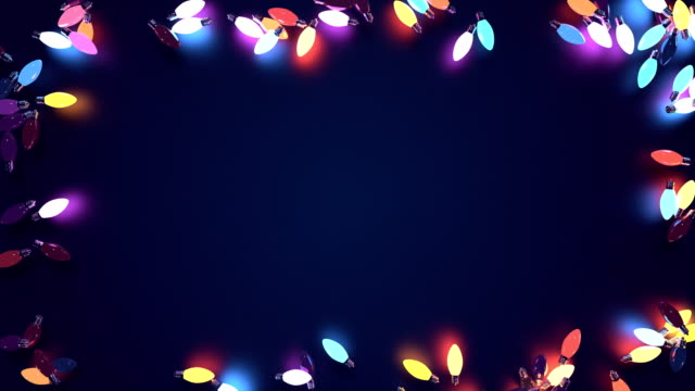 blinking christmas lights frame for logo or videos or photos in the center - string stock videos & royalty-free footage