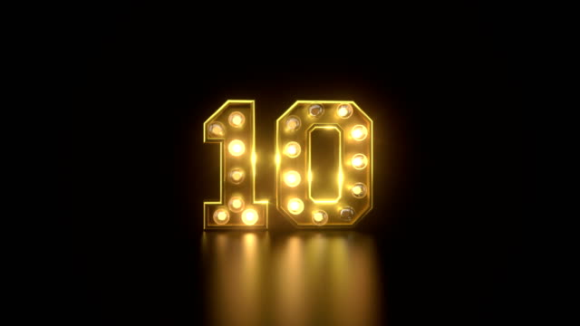 blinking lights countdown in gold - electric lamp video stock e b–roll