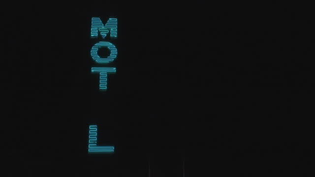 ms, blinking vintage neon motel sign at night, california, usa - motel stock videos and b-roll footage