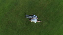 AERIAL TOP DOWN: Blissful pregnant couple in love laying in meadow holding hands