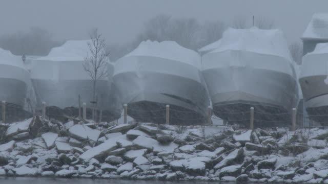 Blizzard, Heavy Snow Falling At A Boat Marina