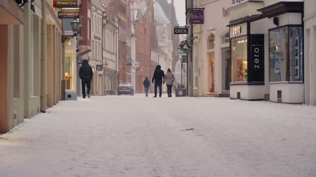 blizzard in lüneburg slow motion - リューネブルグ点の映像素材/bロール
