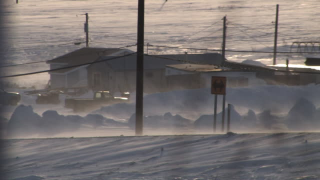 Blizzard in the village of Nome during winter