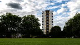 Block Of Flats And Time Lapse Video From London Fields On A Cloudy Day