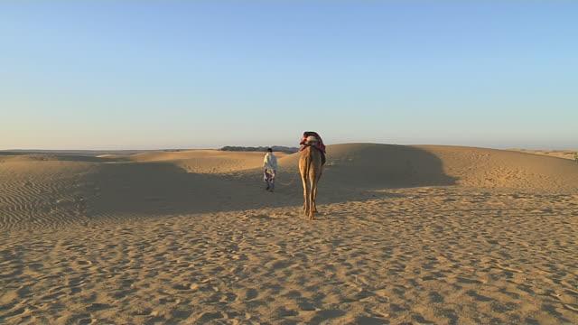 vidéos et rushes de block shot desert camel ride jodhpur rajasthan india - monter sur un moyen de transport