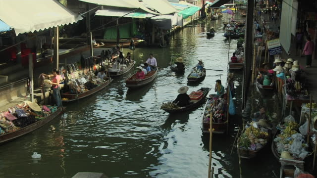 Block Shot Floating Market Bangkok Thailand