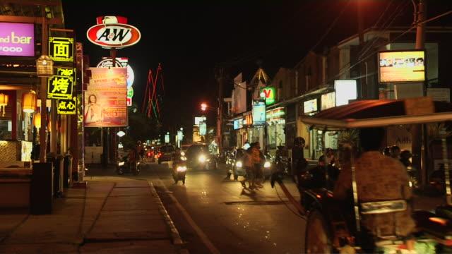 block shot street night bali indonesia - indonesia street stock videos & royalty-free footage
