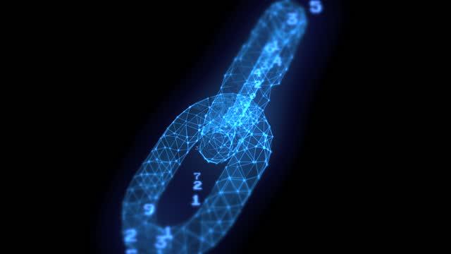vídeos y material grabado en eventos de stock de blockchain azul wirefame concepto animación loopable fondo abstracto con números - eslabón