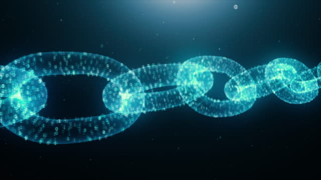 Blockchain crypto currency animated fly