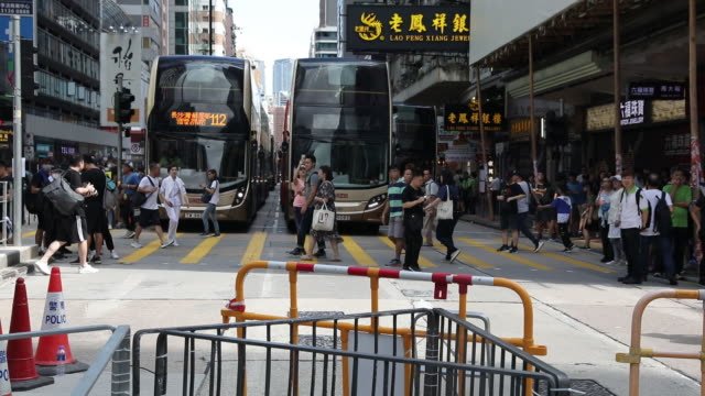 vidéos et rushes de blocked street during protests at mong kok district hong kong china on monday aug 5 2019 - mong kok