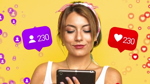 vídeos de stock e filmes b-roll de blogger using phone with social media notification, young girl is traveling on social media. social issues, people hands addicted by mobile smart phone. - social media