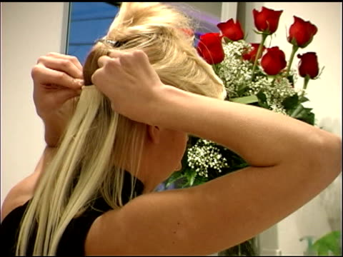 blond hair extensions - pampering self stock videos and b-roll footage