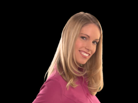 blonde girl close-up smiling - this clip has an embedded alpha-channel - keyable stock videos & royalty-free footage