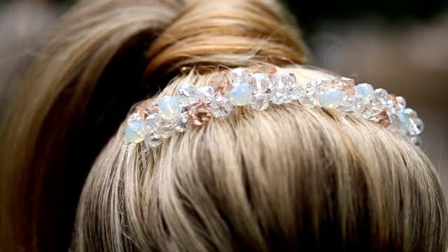 blonde hair in a beautiful wreath. - wedding dress stock videos & royalty-free footage