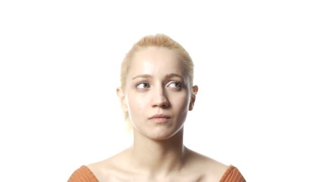 blonde woman confused - decisions stock videos & royalty-free footage