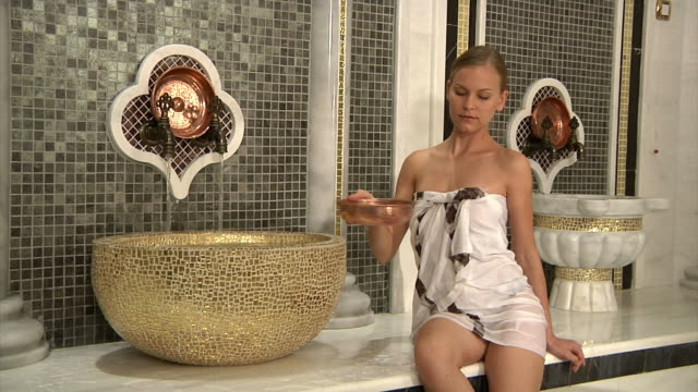 blonde woman in roman bath - somerset stock videos & royalty-free footage