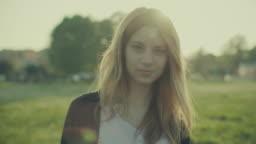 Blonde woman video portrait