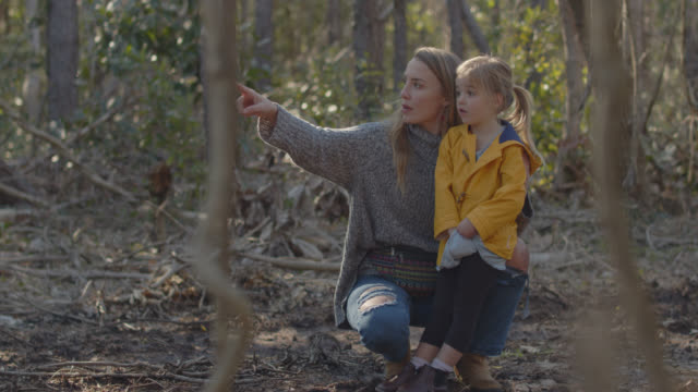 vidéos et rushes de slo mo blonde young woman crouches next to young girl in the forest and points at something through the trees - enseigner