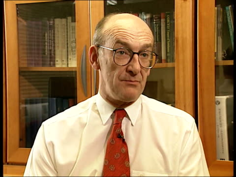 cjd infection itn england london professor sir john pattison interviewed sot talks of safeguards that can be taken to protect blood supplies - infectious disease stock videos & royalty-free footage