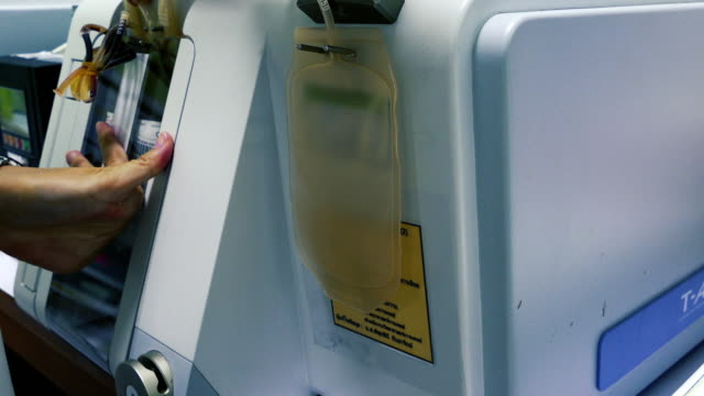 blood machine with blood bag from blood donors - blood bag stock videos and b-roll footage