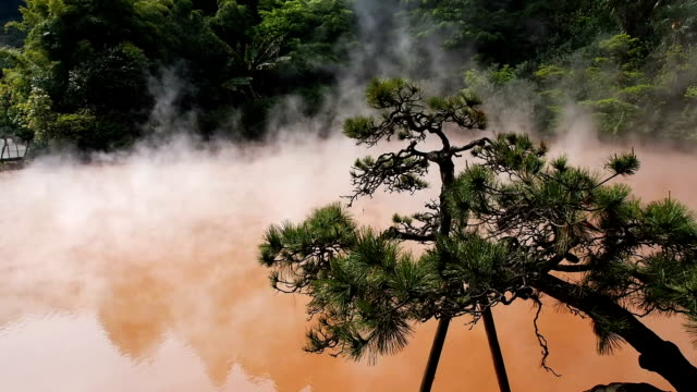 blood pond hell in beppu, japan - oita prefecture stock videos & royalty-free footage