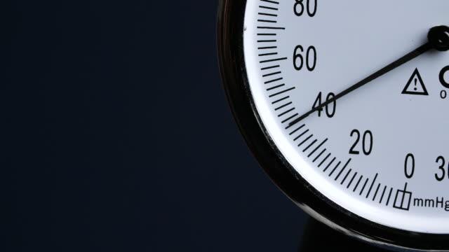 cu blood pressure meter rises - gauge stock videos & royalty-free footage