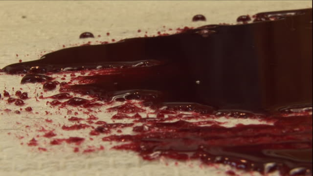 vidéos et rushes de blood soaks white carpet. - sol caractéristiques d'une construction