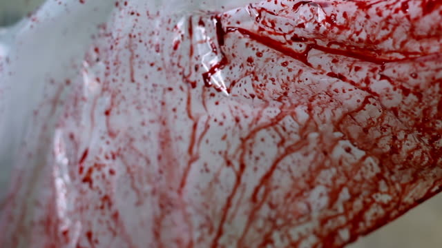 vídeos de stock, filmes e b-roll de manchado de sangue folha de plástico - assassinato