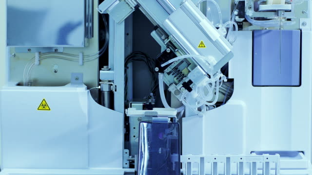 Blood test machine in laboratory