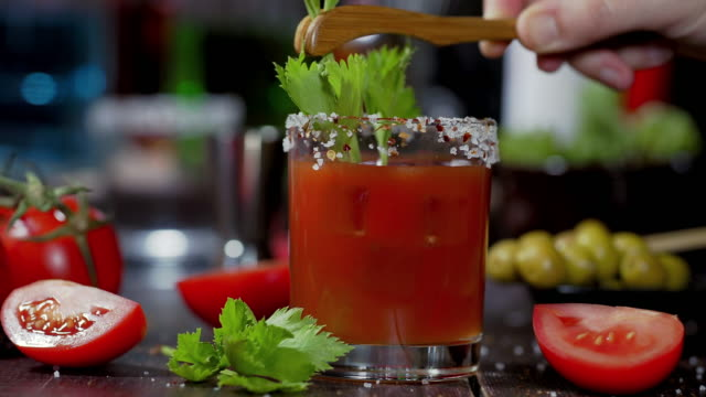 bloody mary cocktail - celery stock videos & royalty-free footage