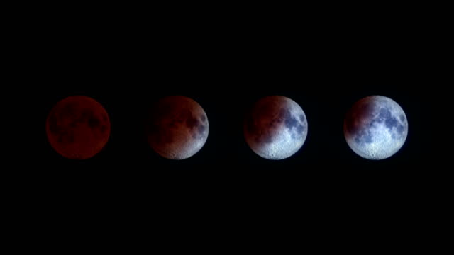bloody moon - lunar eclipse - luna video stock e b–roll