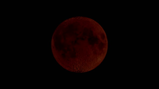 bloody moon - lunar eclipse - satellite video stock e b–roll