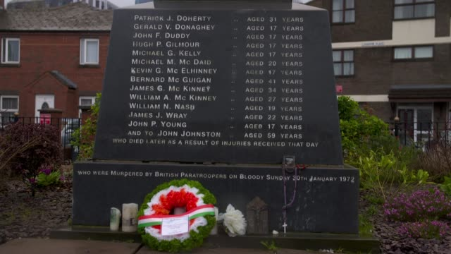 Soldiers to find out if they will be prosecuted for deaths during Bloody Sunday massacre NORTHERN IRELAND Londonderry EXT Bloody Sunday Monument with...