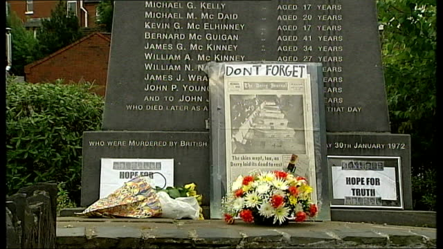 "bloody sunday murder inquiry announced; bloody sunday memorial with names of victim inscribed - flowers and ""don't forget"" placard laid in front - placard stock videos & royalty-free footage"